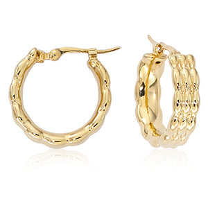 Textured Wide 14k Gold Hoops