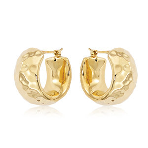 14k Gold Hammer Hoops