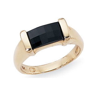 Baguette Onyx Gold or Silver Ring
