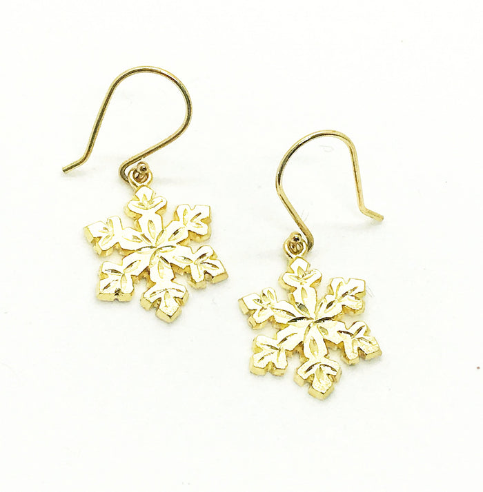 Custom Gold Snowflake Earring