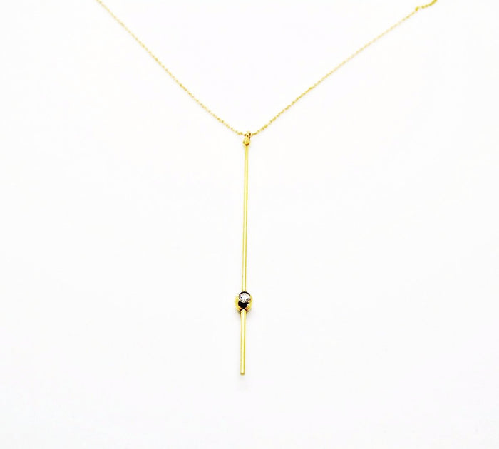 14K Custom Gold Stick Necklace with Single Diamond
