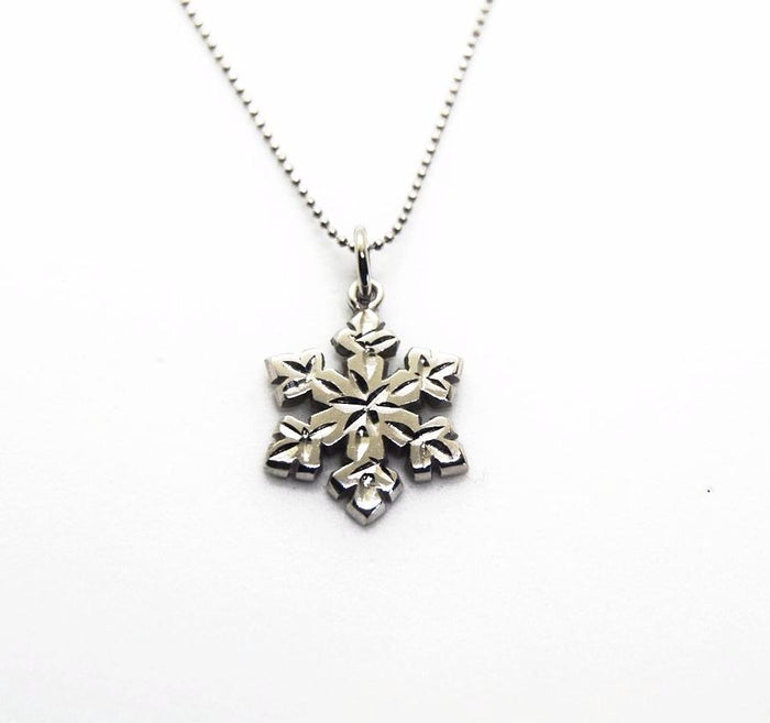 Custom Diamond Cut White Gold Snowflake