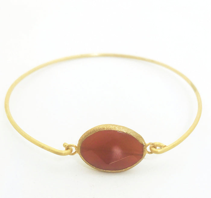 Pazar 14k gold plated bracelet -Burgundy