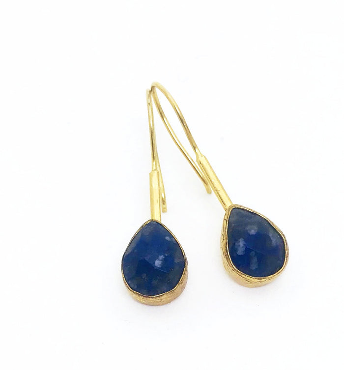 Pazar 14k Gold Plated Earrings -Deep Blue