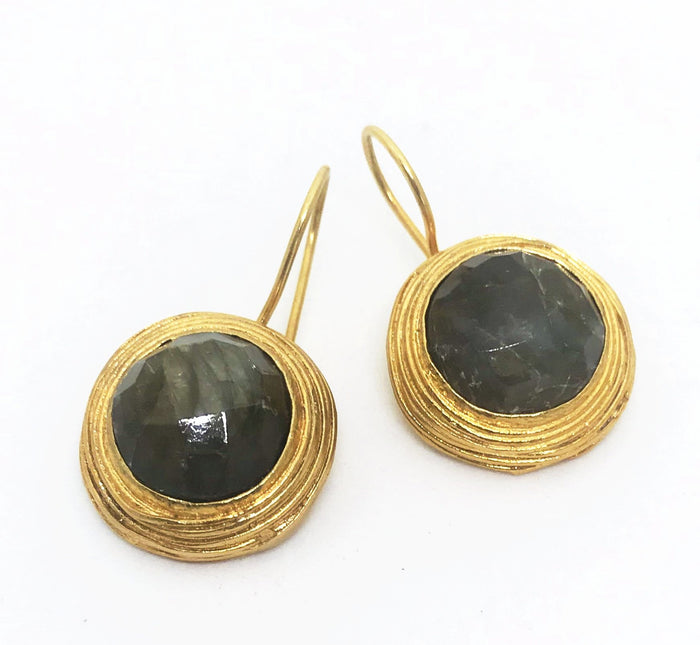 PAZAR 14K GOLD PLATED EARRINGS -Dark Round