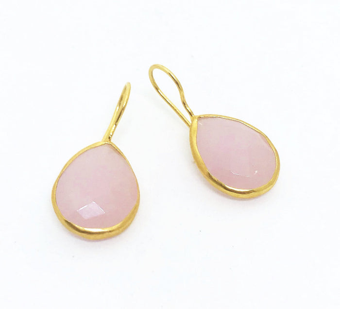 PAZAR 14K GOLD PLATED EARRINGS -soft pink tear drop
