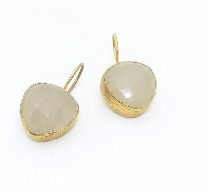 PAZAR 14K GOLD PLATED EARRINGS -off white