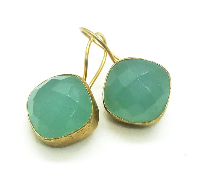 PAZAR 14K GOLD PLATED EARRINGS -mint green