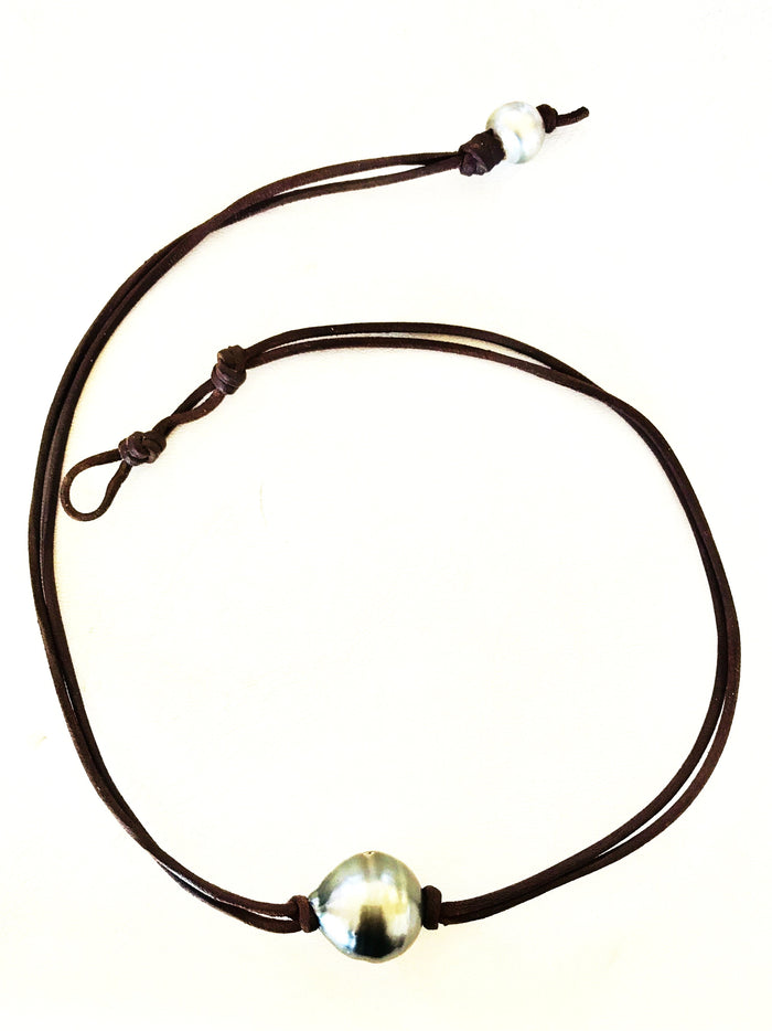 Single Tahitian Pearl & Leather Necklace