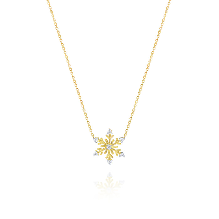 14k Yellow Gold Snowflake with (7) Diamonds