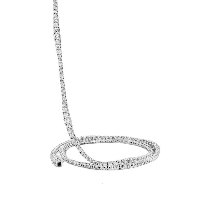 Wave Tennis Diamond Necklace 18""