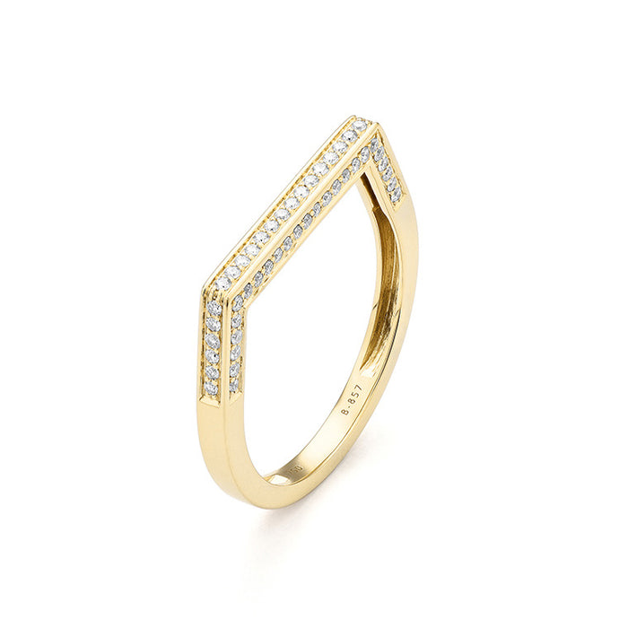 14k Gold Flattops Diamond Ring