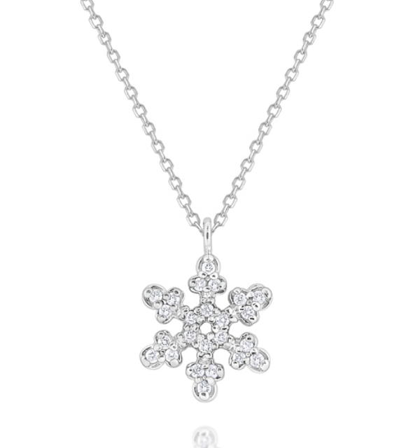 Diamond Snowflake Pendant Set in 14 Kt. Gold