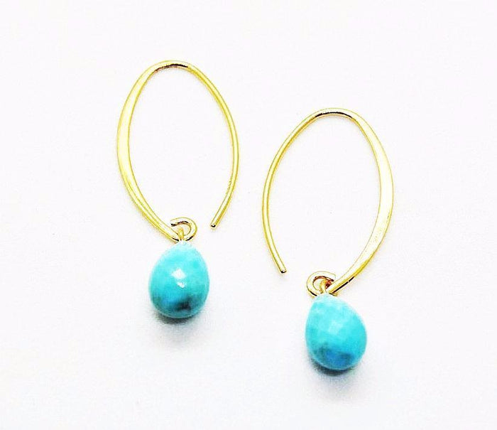 Gold Wire & Colored Stone Earring