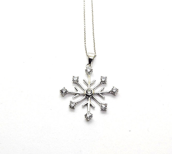 Silver CZ Diamond Snowflake Necklace