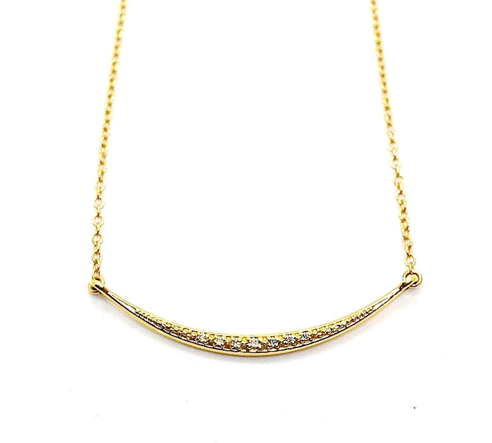 "14K Gold Diamond ""Smile"" Bar Necklace"