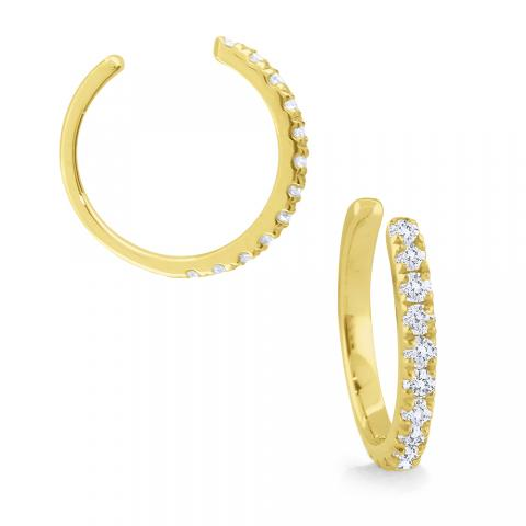 14k gold and diamond earring cuff