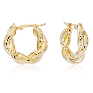 Twist Hoop Gold Earrings