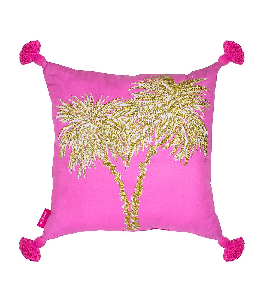 Lilly Pulitzer Tasseled Metallic Palms Canvas Square Pillow