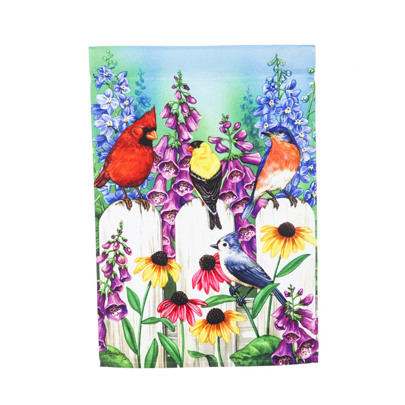 Birds On A Fence Garden Satin Flag