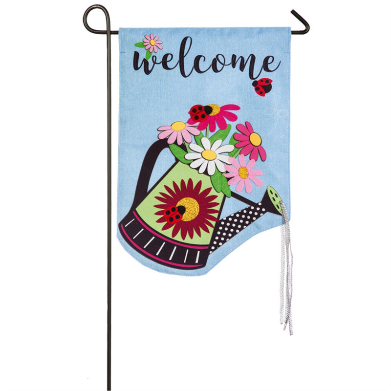 Watering Can Welcome Garden Linen Flag