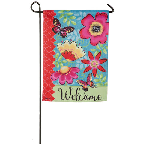 Butterflies and Flowers Garden Suede Flag