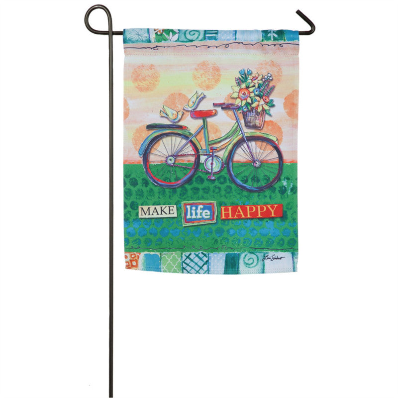 Happy Life Bicycle Garden Suede Flag