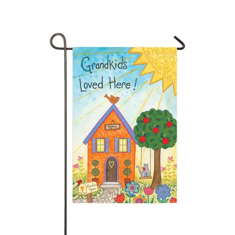 Grandkids Loved Here Suede Garden Flag