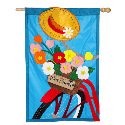 Bicycle Basket Garden Applique Flag
