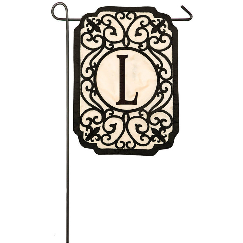 "Monogram ""L"" Applique Garden Flag"