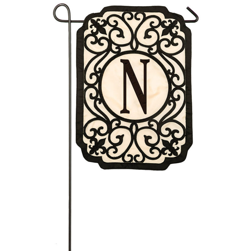 "Monogram ""N"" Applique Garden Flag"