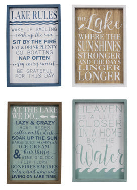 Wood Framed Lake Signs