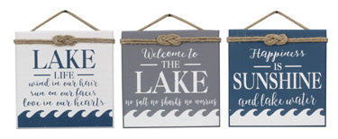 WOOD LAKE WALL SIGN, 3 ASSORTED