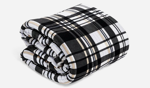 Cozy Life Jersey Throw Blanket PATTERN Cozy Plaid Neutral