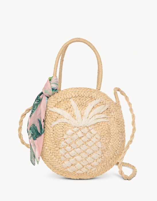Retreat Round Straw Tote Cabana Leaf