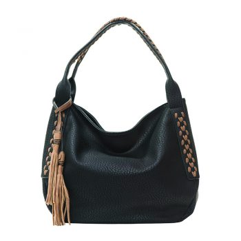 Black Hobo with Whipstitch and Brown Tassel
