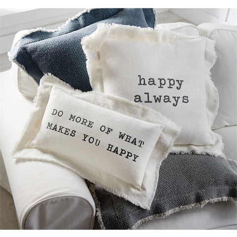 HAPPY FRAYED COTTON PILLOWS