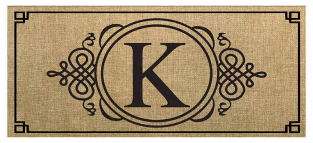 "Sassafras Monogram ""K"" Burlap Switch Mat"