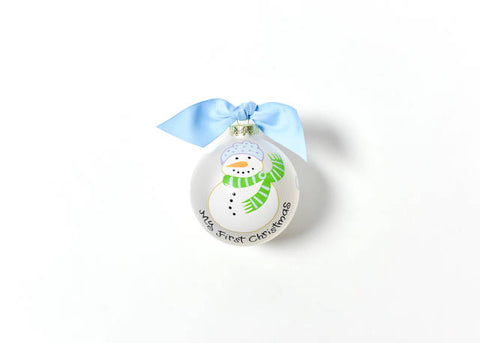 Coton Colors My First Christmas Snowman Boy Glass Ornament