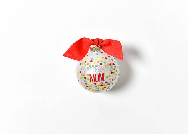 Coton Colors You're The Greatest Mom! Bright Confetti Glass Ornament