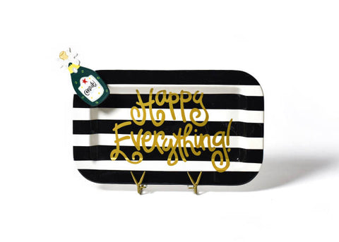 Happy Everything Mini Rectangle Platter Black Stripe