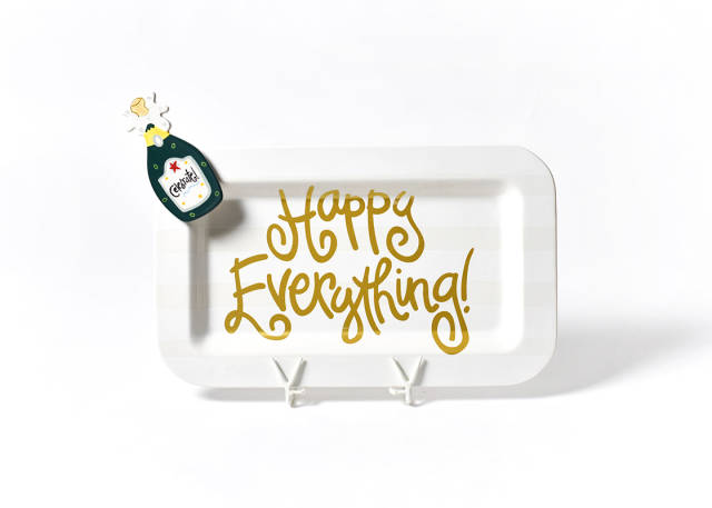 Happy Everything Mini Rectangle Platter White Stripe with Attachment