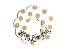 "Happy Everything 20"" Neutral Dot Wooden Wreath"