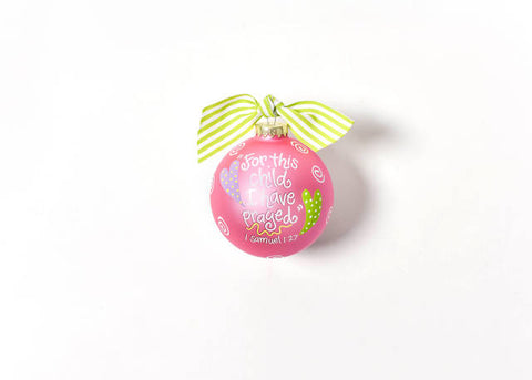 Coton Colors For This Child Pink Glass Ornament