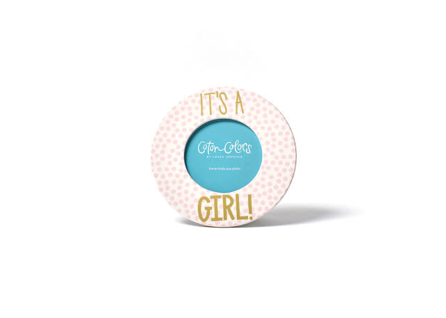 Coton Colors Small Dot Round Frame- It's a Girl!