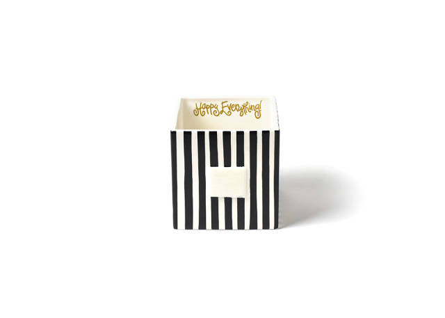 Happy Everything Medium Mini Nesting Cube Black Stripe