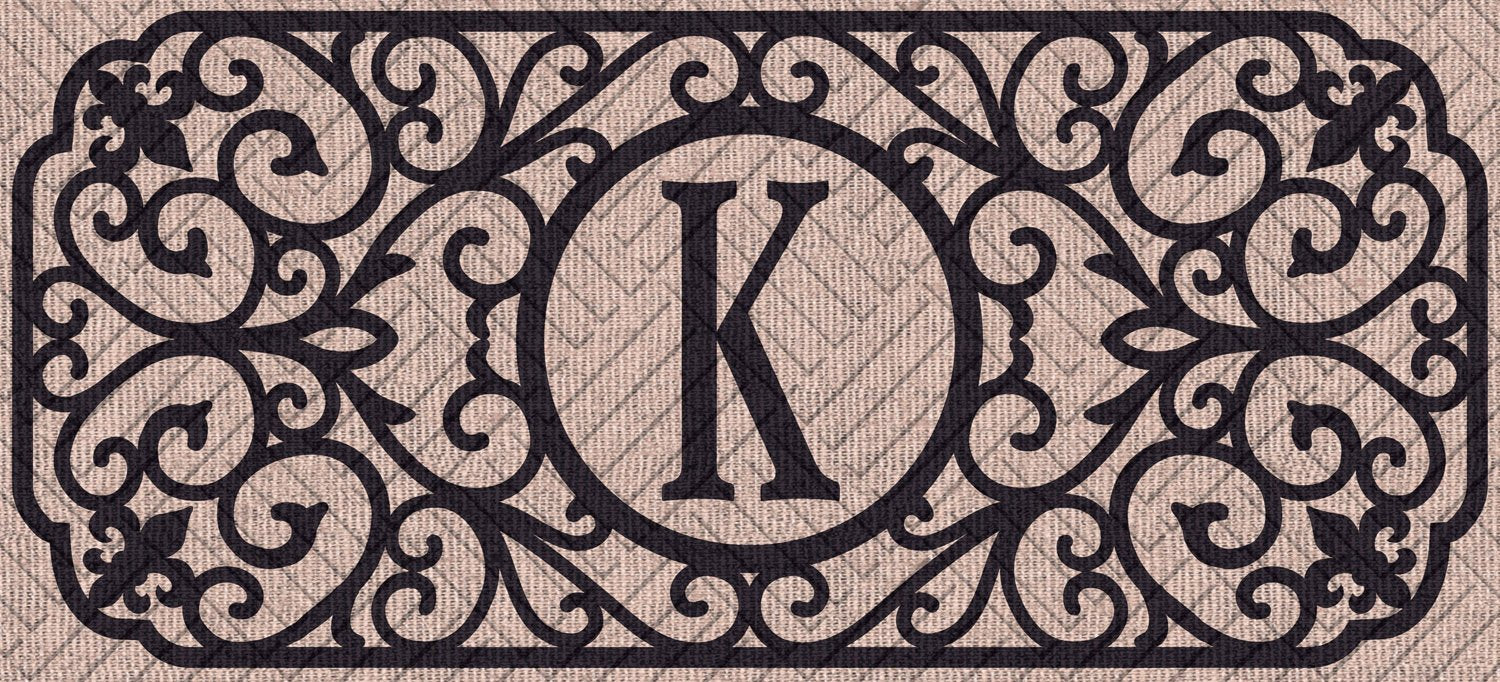 "Sassafras Filigree Monogram ""K""  Embossed Switch Mat"