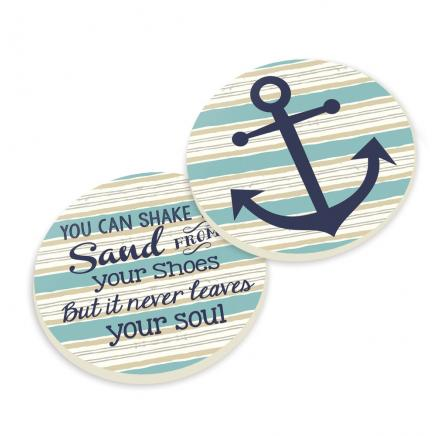 P.Graham Dunn: Car Coasters-Anchor with Beach Quote