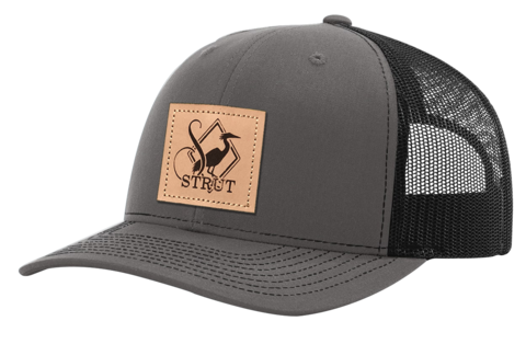 CHARCOAL AND BLACK LEATHER LOGO PATCH HAT RICHARDSON