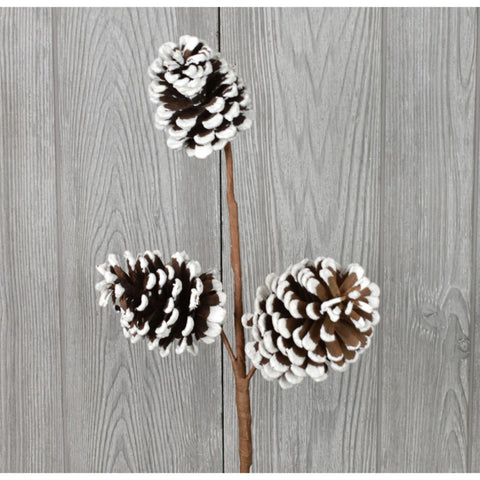 "24"" WHITE EDGE PINECONE SPRAY X 3 - NAWH"